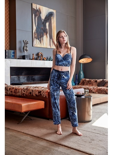 Anıl Kadın Büstiyer Pantolon Takım  Mavi